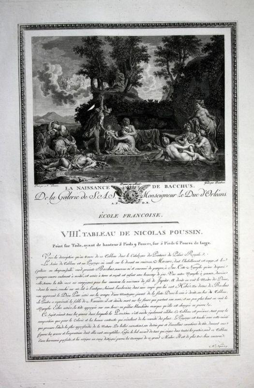 La Naissance de Bacchus - Geburt birth Bacchus Bakchos Kupferstich antique print