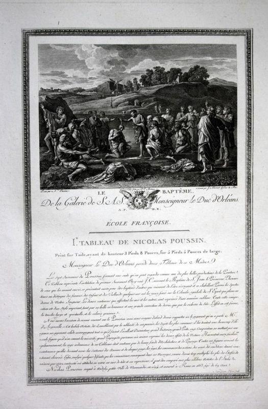 Le Bapteme - Taufe bapteme baptism Kupferstich antique print