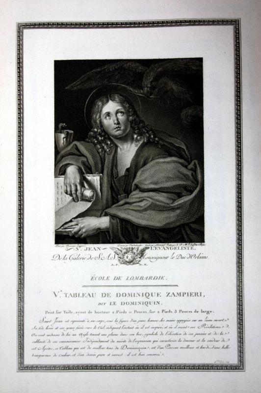 St. Jean l'Evangeliste - Johannes Evangelist John Jean Portrait Kupferstich antique print