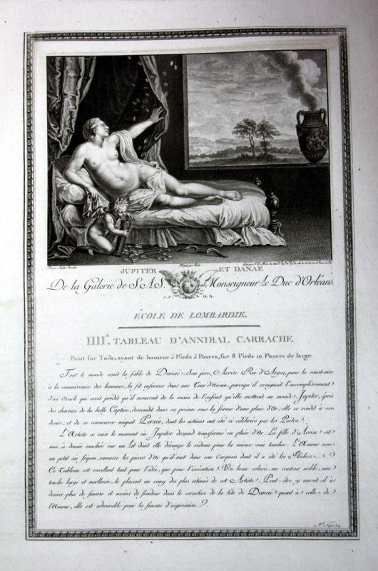Jupiter et Danae - Jupiter Danae Akt nude Kupferstich antique print