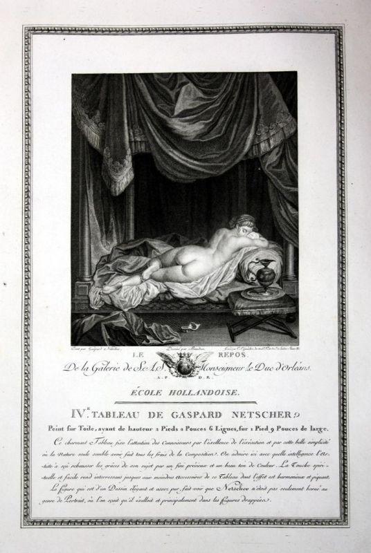 Le Repos - Erholung relaxing Akt nude repos Kupferstich antique print
