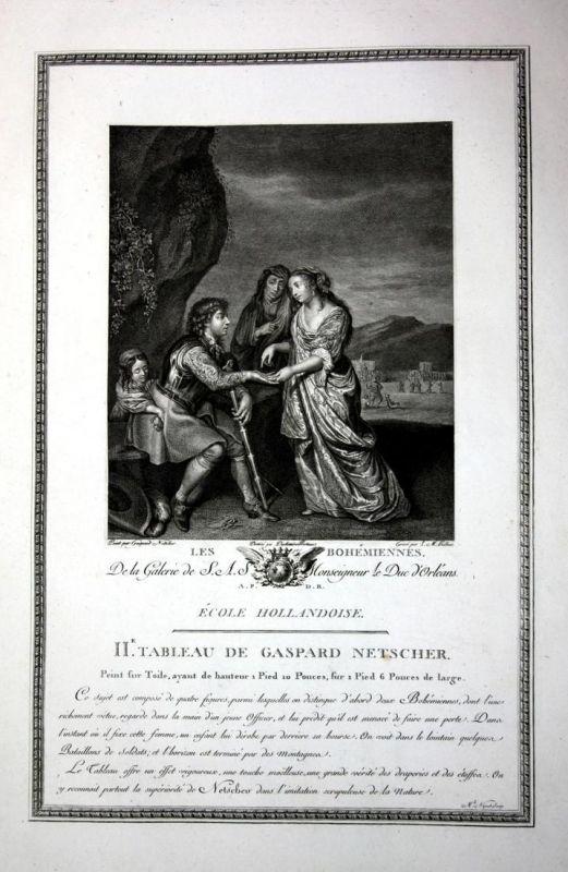 Les Bohemiennes - Zigeuner bohemien gypsy Kupferstich antique print