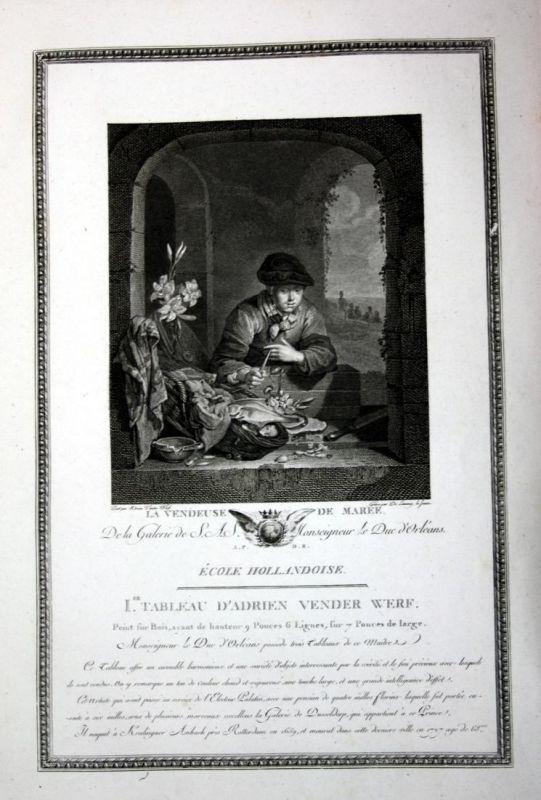 La vendeuse de Maree - Meeresfrüchte Seafood merchant Kupferstich antique print
