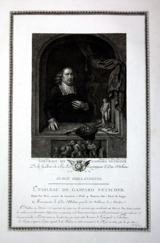Portrait de Gaspard Netscher - Caspar Netscher Portrait Selbstportait Kupferstich antique print