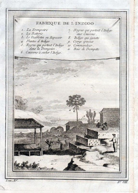 Fabrique de l'Indigo - Indien India Fabrik factory Asien Asia Kupferstich antique print