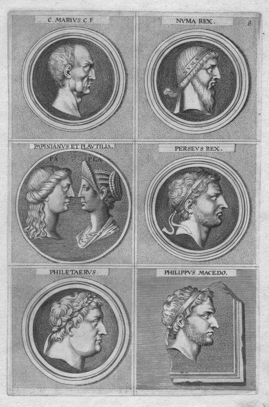 C. Marius C. F. - Numa Rex - Papinianus et Plautilia - Perseus Rex - Philetaerus - Philippus Macedo - Antike a