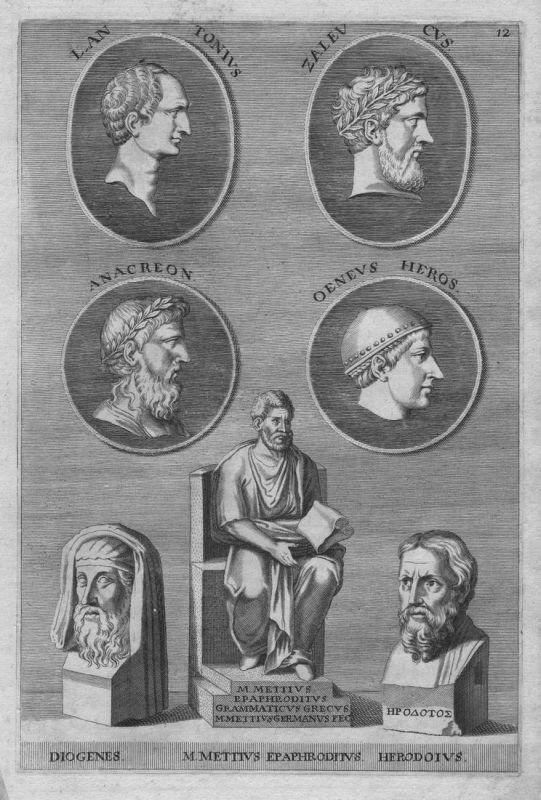 L. Antonius Zaleucus - Anacreon - Oeneus Heros - Diogenes - M. Mettius Epaphroditus - Herodoius - Antike antiq
