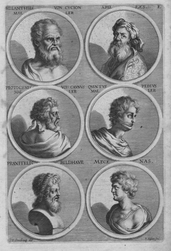 Melantus von Cycion - Apelles - Protogenes von Caunus - Quintus Pedius - Praxitells - Mecenas - Antike antiqui