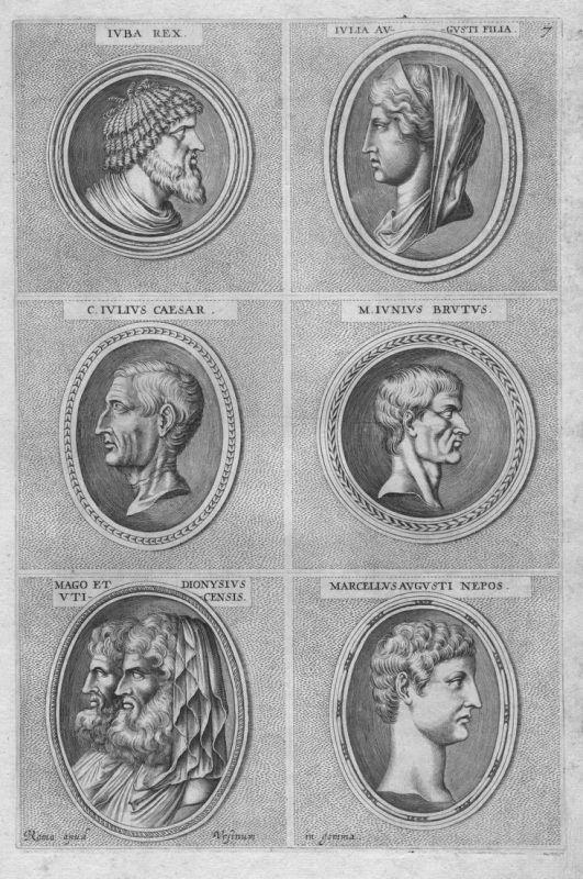 Iuba Rex - Iulia Augusti Filia - C. Iulius Caesar - M. Iunius Brutus - Mago et Dionysius - Marcellus Augusti N