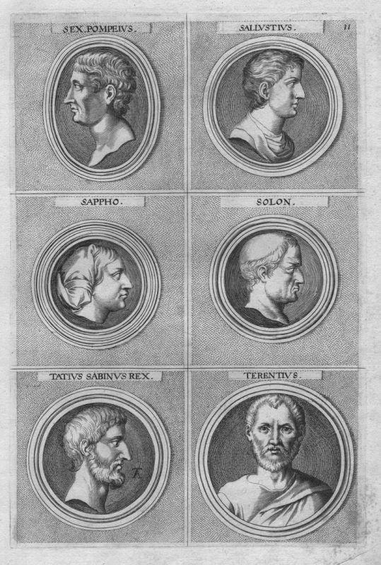 Sex. Pompeius - Sallustius - Sappho - Solon - Tatius Sabinus Rex - Terentius - Antike antiquitiy etching Kupfe