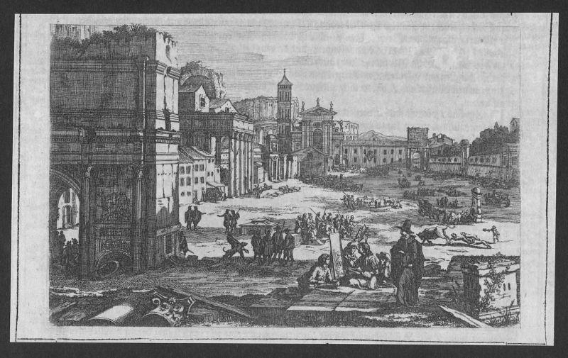 Stadt town Menschen humans Gebäude building etching Kupferstich antique print