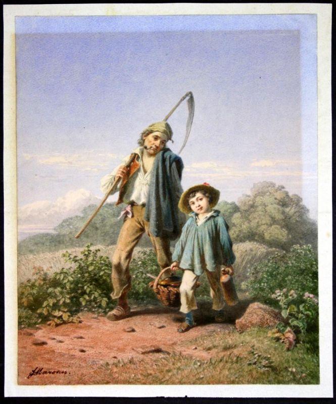 Bauer mit seinem Sohn auf einem Feldweg. / Farmer and his son on a field path.