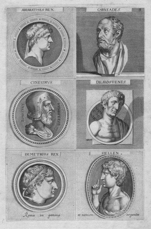Ariarathes Rex - Carneades - Cynegirus - Demostenes - Demetrius Rex - Hellen - Antike antiquitiy etching Kupfe