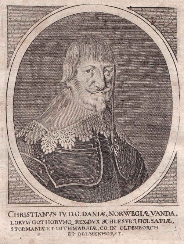 Christianus IV - Christian 4 Danmark Norge konge King Potrait Kupferstich antique print