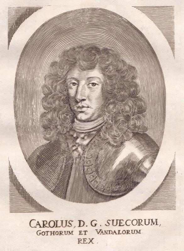 Carolus D.G. Suecorum - Karl Gustav Sverige Sweden kung Potrait Kupferstich antique print