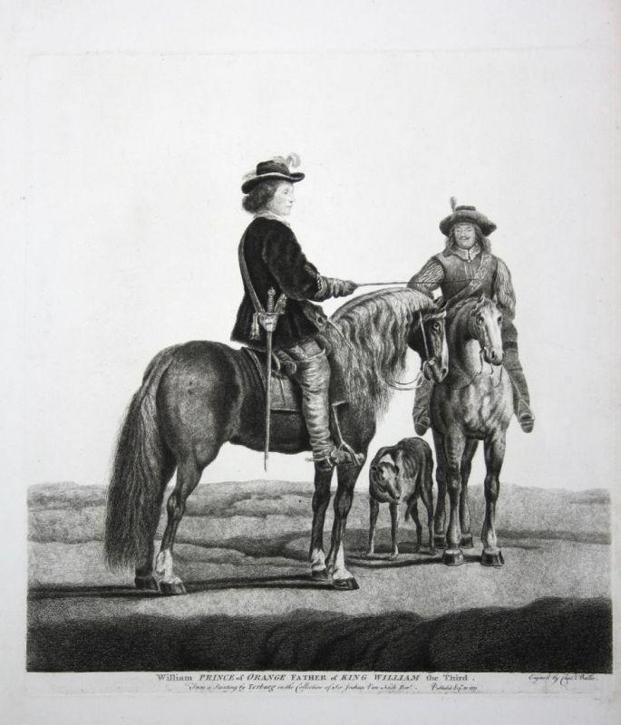 William Prince of Orange Father of King William the Third - Wilhelm II Oranien William Portrait Pferd horse Ku