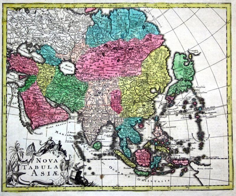 World Map and 4 continents - set of 5 engraved handcolored maps. - Mappa  Totius Mundi vel Planiglobium Terrest
