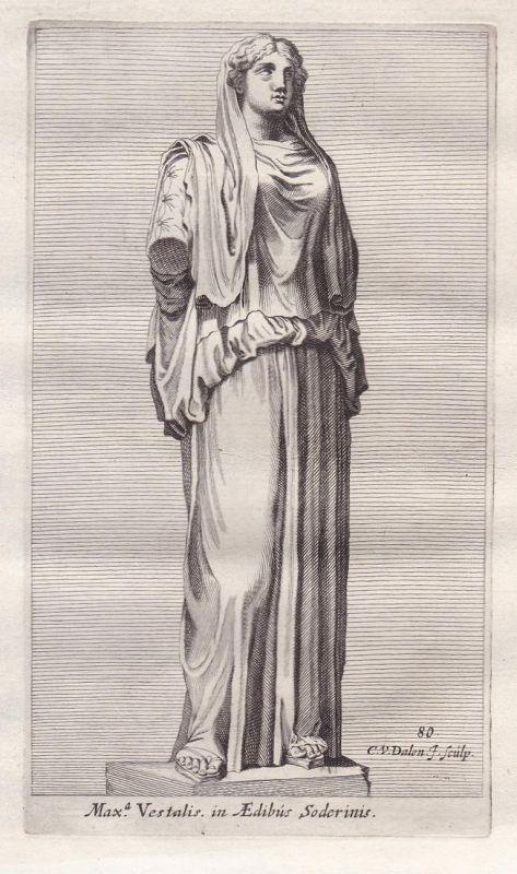 Max.a Vestalis in Aedibus Soderinis - Aquilia Sereva Mythologie Antike antiquity Kupferstich antique print