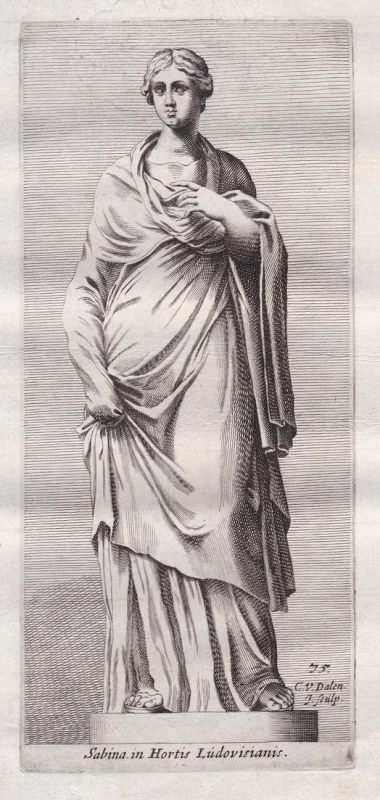 Sabina in Hortis Ludovisianis - Sabine Rome statue Rom Sabina Antike antiquity Kupferstich antique print
