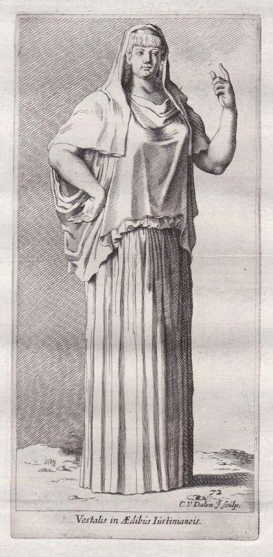 Vestalis in Aedibus Iustinianeis - Hestia Mythologie mythology Antike antiquity Kupferstich antique print