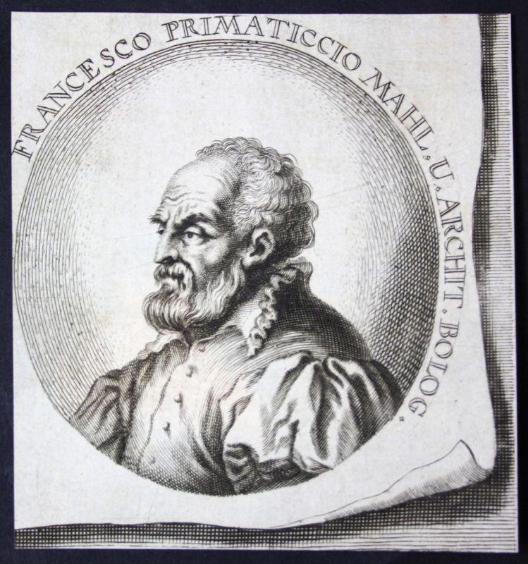 Francesco Primaticcio - Francesco Primaticcio Bildhauer sculptor Maler painter Kupferstich etching Portrait