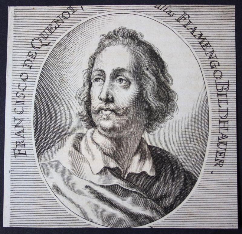 Francisco de Quenoi alias Fiamengo - Francisco de Quenoi Bildhauer sculptor Kupferstich etching Portrait