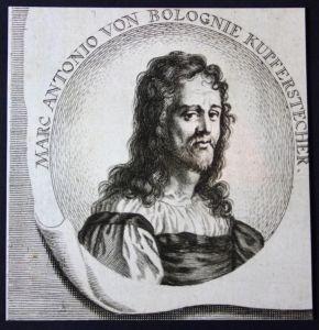 Marc Antonio von Bolognie - Marcantonio Raimondi Kupferstecher copper engraver Kupferstich etching Portrait