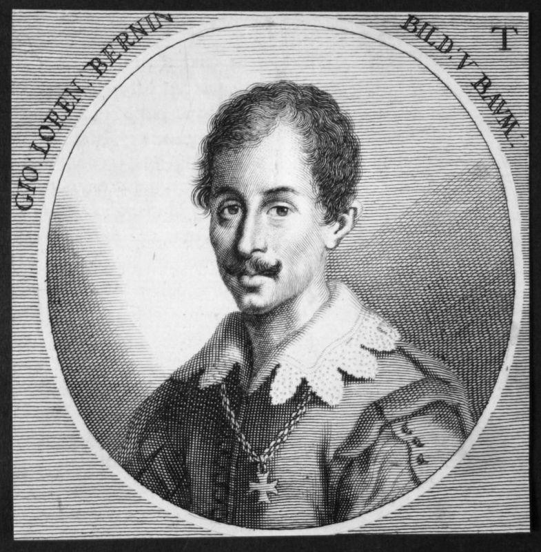 Gio. Loren Bernin - Gian Lorenzo Bernini Maler painter Bildhauer sculptor Kupferstich etching Portrait