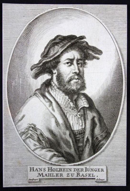 Hans Holbein der Iünger. Mahler zu Basel. - Hans Holbein der Jüngere Maler painter Basel Kupferstich etching P