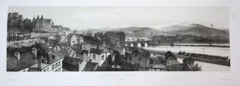 Panorama de Pau, Pris du Parc - Panorama Pau France Frankreich Pyrenees Lithographie Litho Ciceri