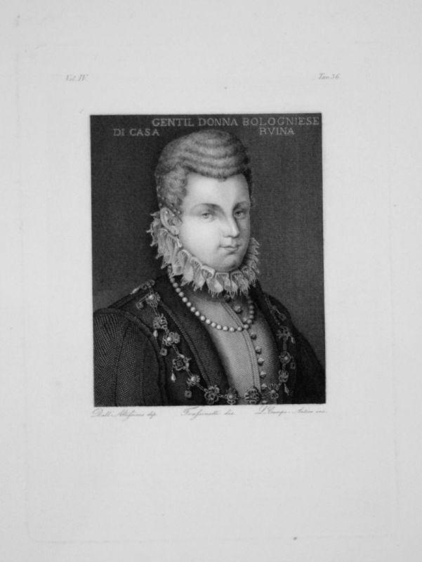 Portrait d'Une Bolonaise de la Maison Ruina - Frau woman Kleid dress Portrait Schmuck Jewellery