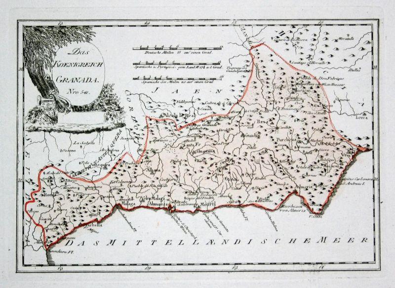 Malaga Karte Spanien.Das Koenigreich Granada Spanien Spain Portugal Granada Malaga Map Karte Reilly Engraving Kupferstich