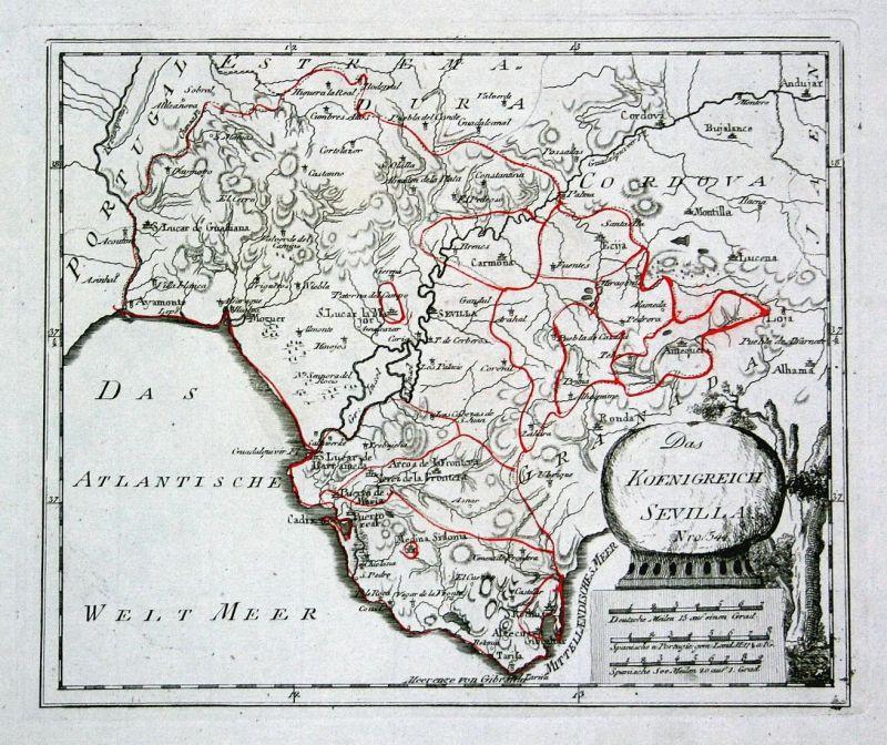 Das Koenigreich Sevilla - Spanien Spain Portugal Sevilla Granada map Karte  Reilly engraving Kupferstich