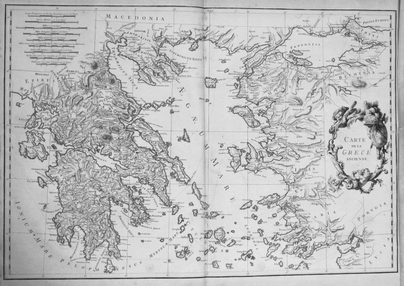 Carte de la Grece ancienne - Greece Griechenland islands Karte map Kupferstich antique print