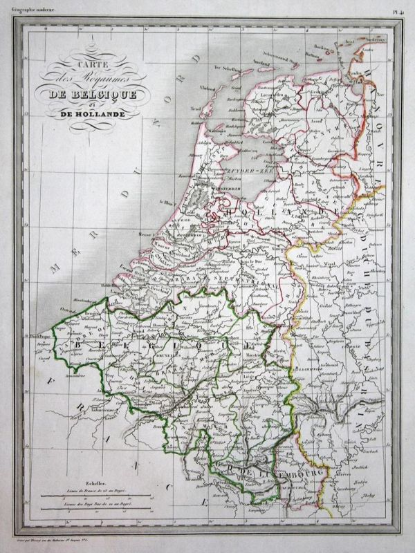 Carte des Royaumes de Belgique et de Hollande - Belgien Belgique Belgium Hollande Holland map Karte carte Kupf