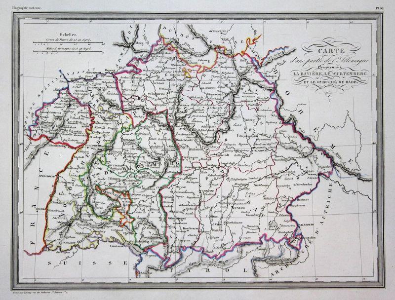 Carte d'une partie de l'Memagne. Comprenaut la Baviere, le Wurtemberg et le G.d Duche de Bade - Baden-Württemb