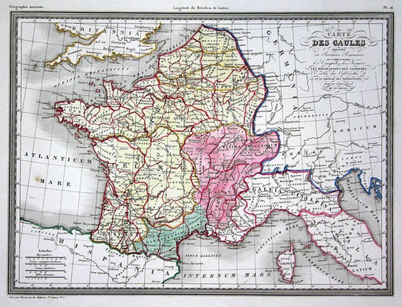 Monaco Italien Karte.Carte Des Gaules Gallien Gaules Italien Italia Italy Korsika Corsica Monaco Map Karte Carte Kupferstich Anti