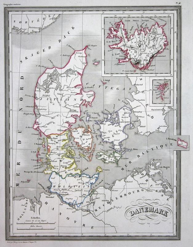 Danemark - Dänemark Danemark Denmark Europa Europe Jütland map Karte carte Kupferstich antique print