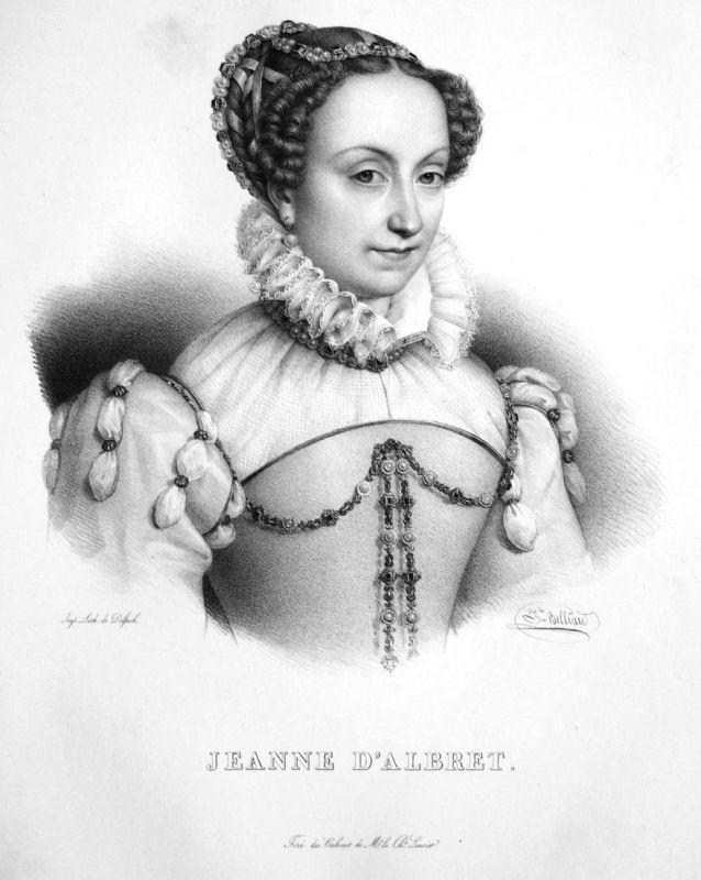 Jeanne d'Albret - Johanna III. Königin queen reine Navarra Lithographie Belliard Portrait