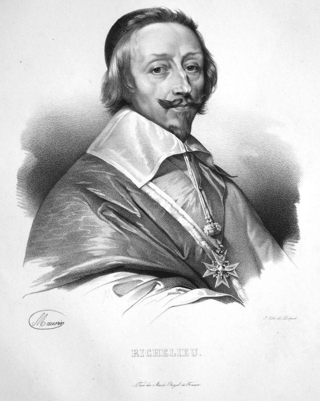 Richelieu - Armand-Jean du Plessis, duc de Richelieu Aristokrat aristocrat aristocrate France Frankreich Litho