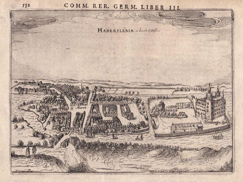 Haderslebia - Haderslev Danmark Denmark Dänemark Ansicht view Kupferstich antique print