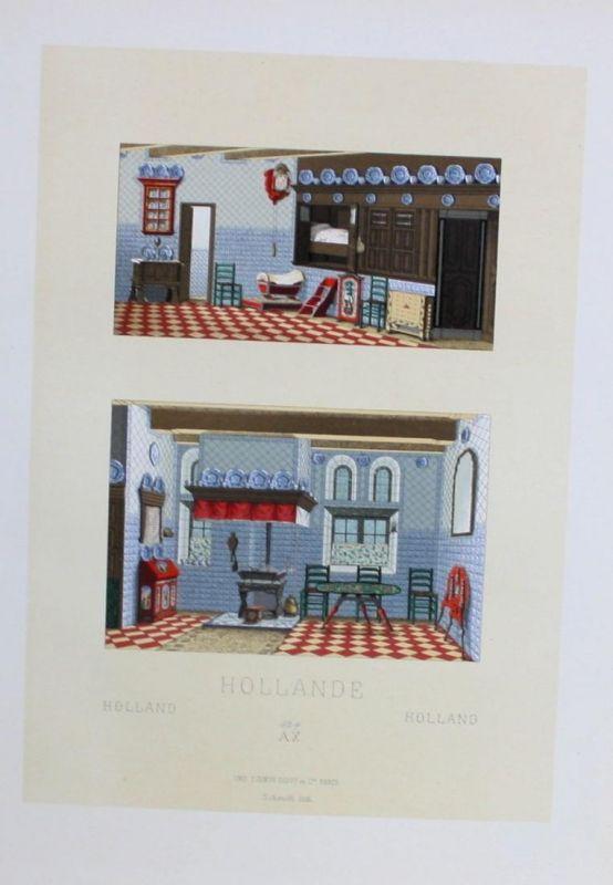 Hollande Holland Einrichtung furniture Lithographie lithograph