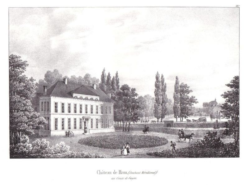 Chateau de Ham - Ham Flandern Limburg Hasselt Schloss chateau Lithographie Cloet Belgique Belgien