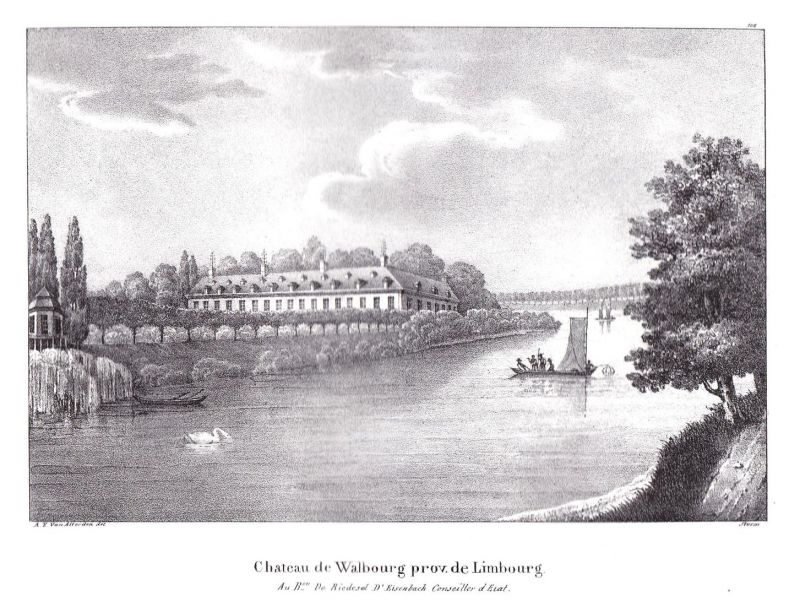 Chateau de Walbourg prov. de Limbourg - Limbourg Wallonien Lüttich Schloss chateau Verviers Lithographie Cloet