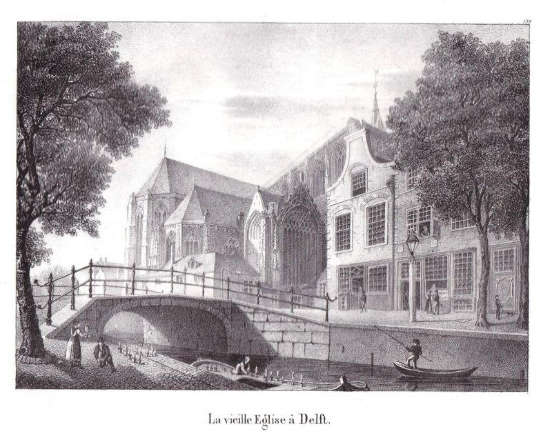 La vieille Eglise a Delft - Delft Kirche Südholland Lithographie Cloet Niederlande Pays-Bas