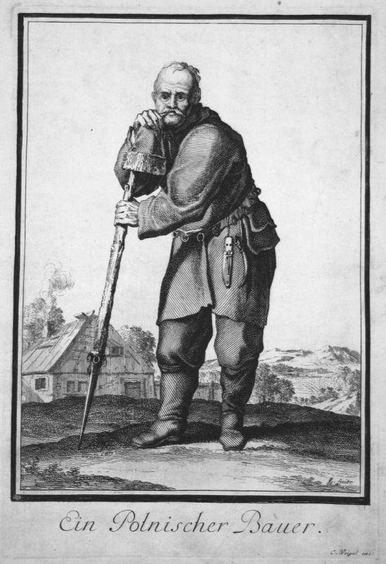 Ein Polnischer Bauer - Polska Poland Polen farmer Bauer Trachten costumes Kupferstich antique print