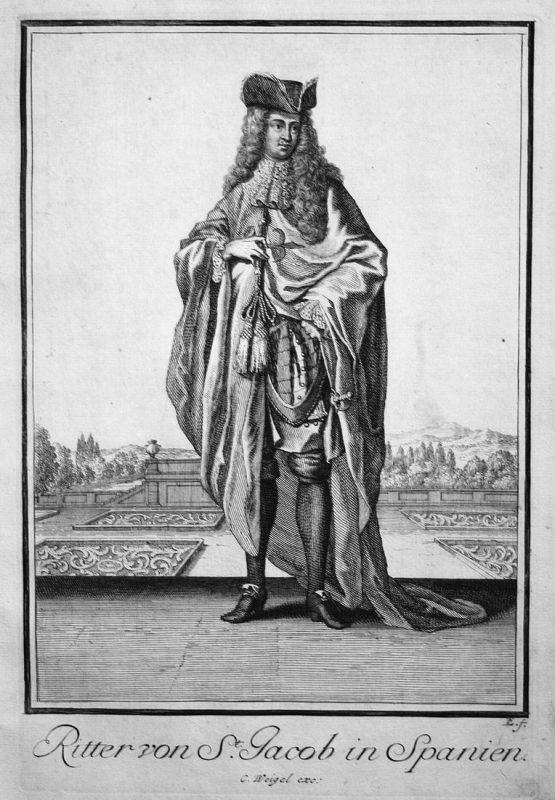 Ritter von St. Jacob in Spanien - Espana Spain Spanien Santiago Orden Kupferstich antique print
