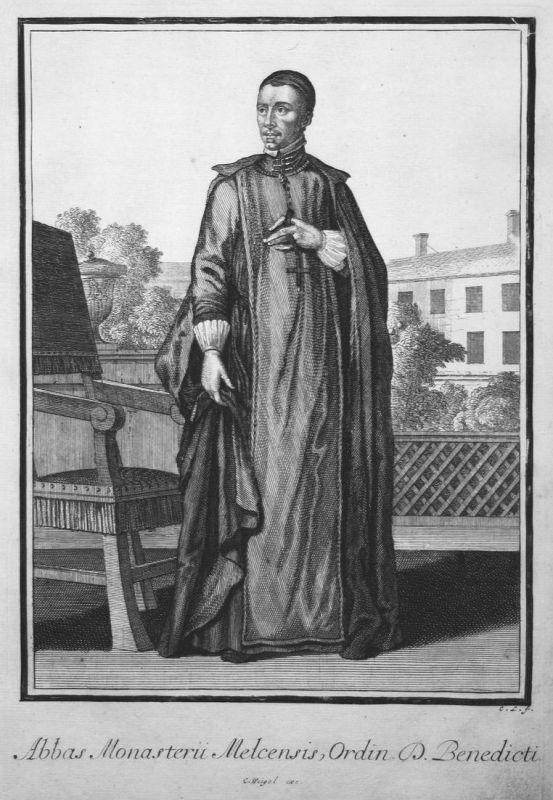 Abbas Monasterii Melcensis, Ordin. S. Benedicti - Benediktiner Orden Trachten costumes Kupferstich antique pri