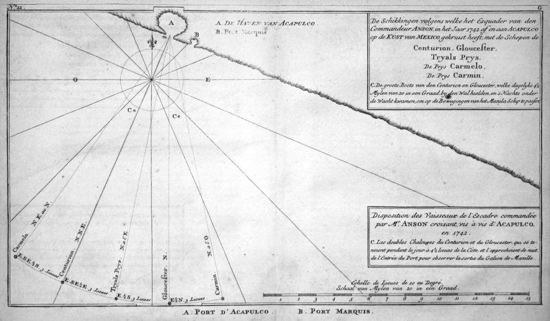 Disposition des Vaisseaux de l'Escadre .. vis d'Acapulco en 1742 - Acapulco de Juarez Mexico Karte map Kupfers