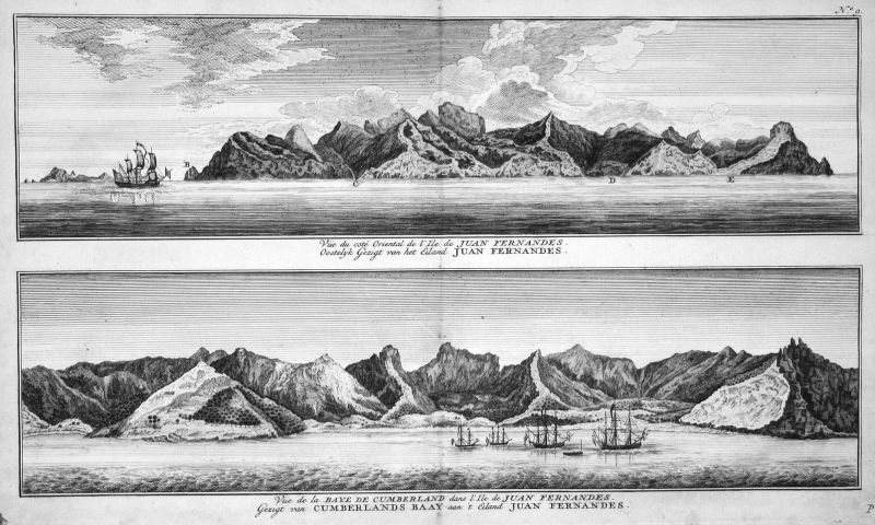 Vue du cote Oriental de l'Isle de Juan Fernandes - Juan Fernandez Chile Cumberland Robinson Crusoe Ansicht vie